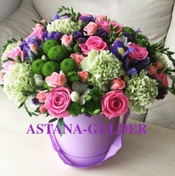цветы в коробке астана