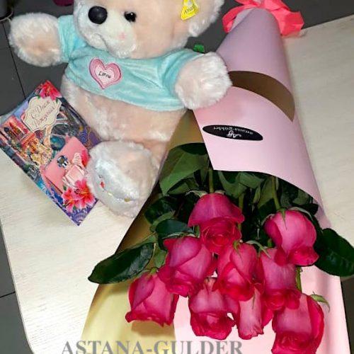 цветы и мягкая игрушка с доставкой в астане